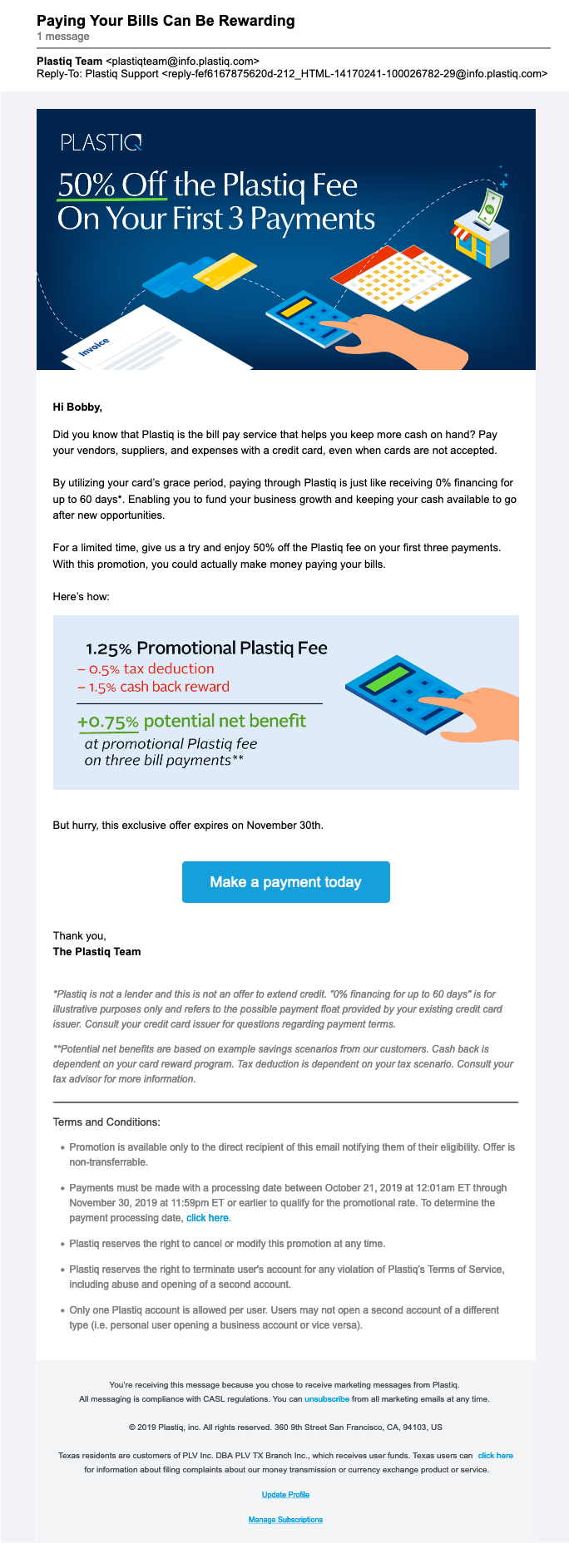 Plastiq 50pc Off Email Promotion