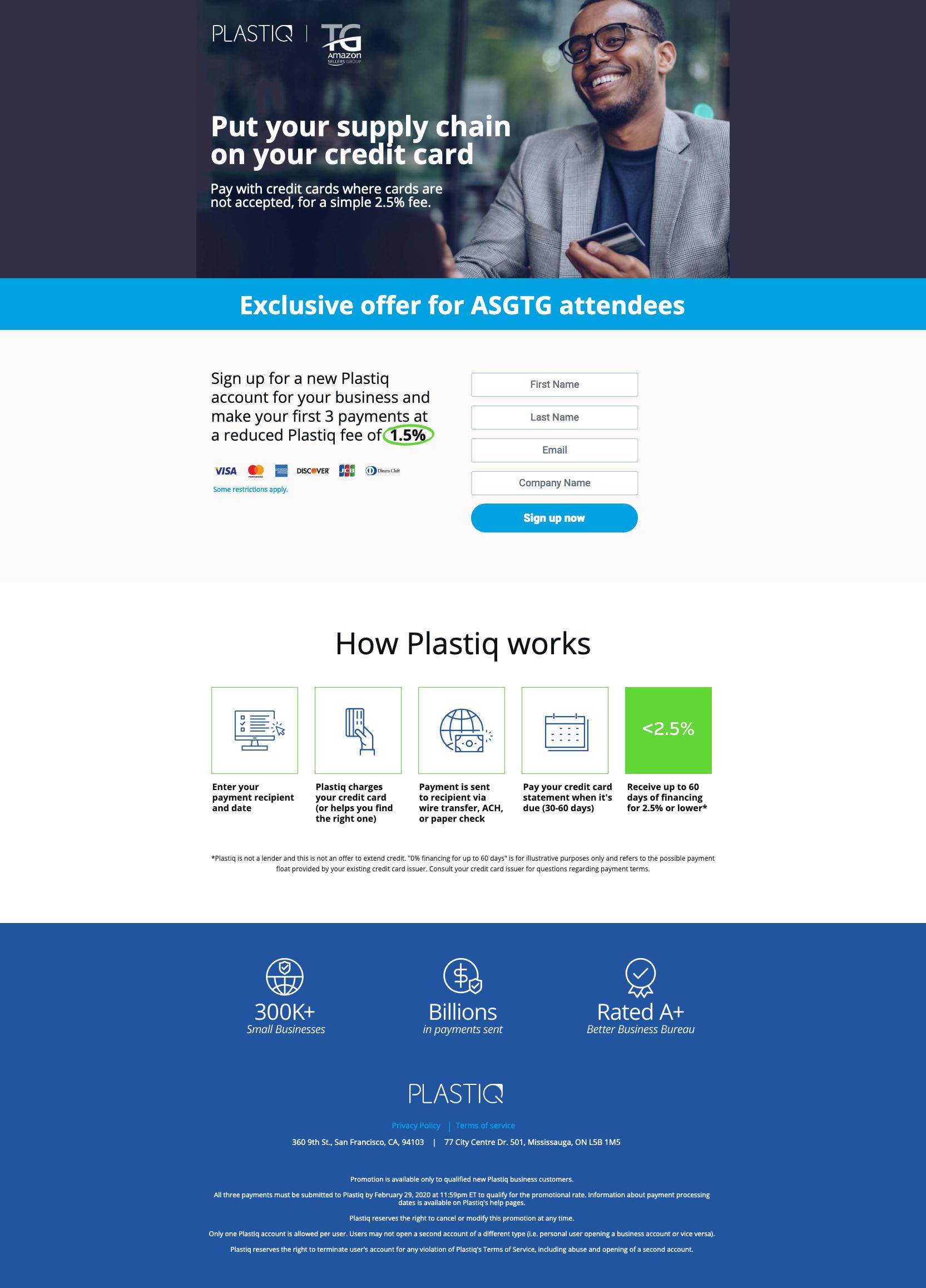 Plastiq Landing Page - ASGTG