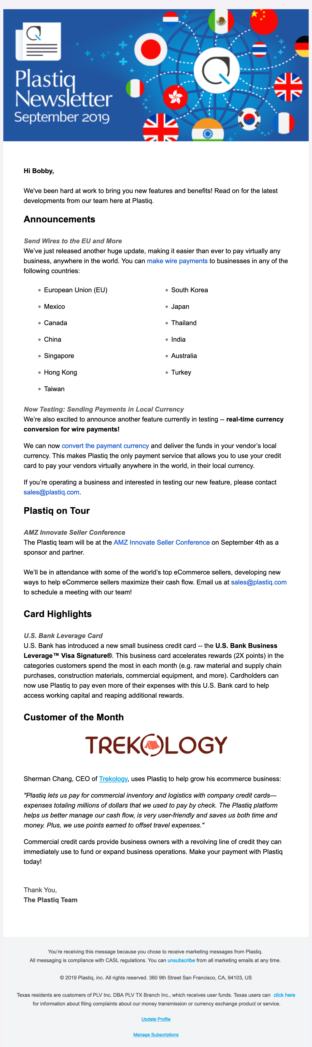 Plastiq Sept 2019 Newsletter